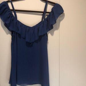 Sheer blue open sleeve top